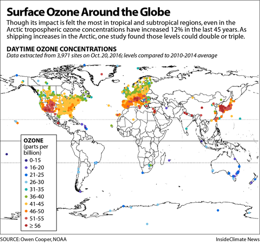 Map: Industrialized Nations Are Chief Ozone Emitters