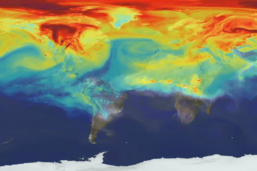 Carbon dioxide emissions from fossil fuels, deforestation and other sources trap heat, warming the planet. Credit: NASA