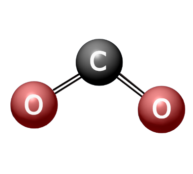 Illustration of a carbon dioxide molecule bending as it absorbs energy