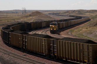 A coal train winds through Wyoming. Kimon Berlin/CC-BY-SA-2.0