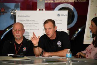 Trump-appointed FEMA Director Brock Long speaks in Corpus Christi, Texas, as Hurricane Harvey struck in 2017. Credit: Jim Watson/AFP/Getty Images