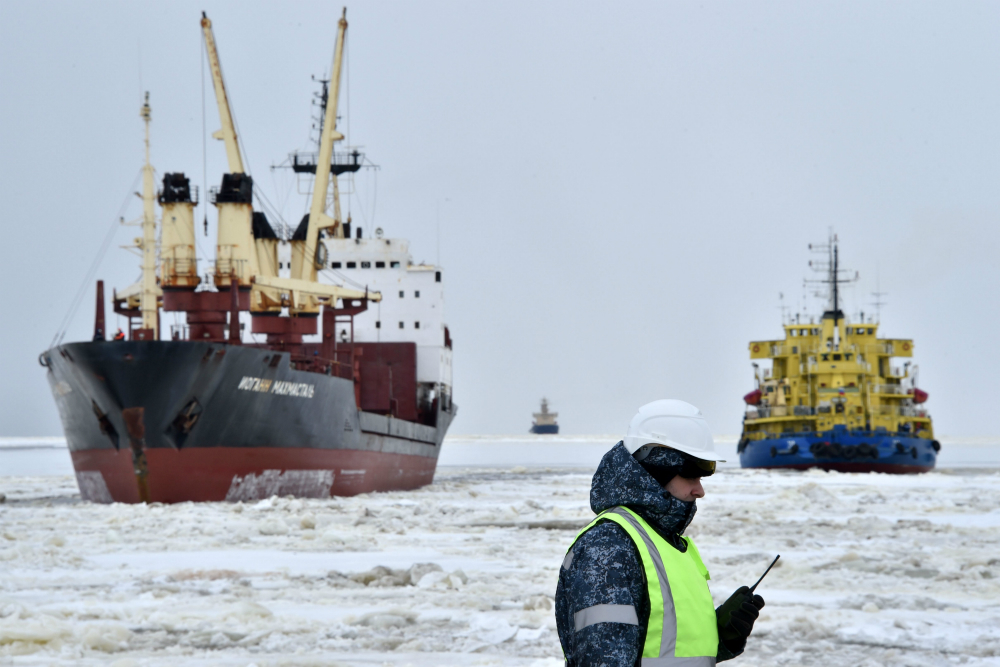 Ships enter Russia's Kara Sea port of Sabetta on the Yamal Peninsula, where Yamal LNG opened a liquefied natural gas plant in 2017. Credit: Kirill Kudyavtsev/AFP/Getty Images