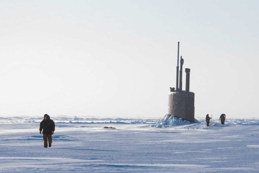 The U.S.S. Connecticut breaks through the ice on the Beaufort Sea during a submarine exercise in March 2018. Credit: Mass Communication 2nd Class Micheal H. Lee/U.S. Navy