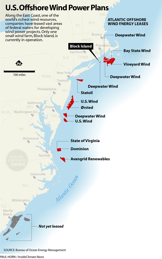 BOEM map of leases for offshore wind development on the East Coast.