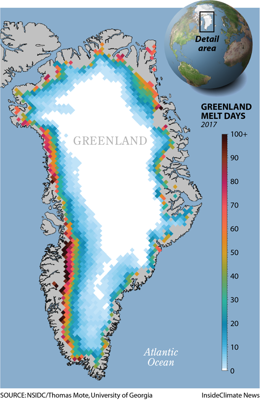 Map: Cumulative melt days across Greenland in 2017