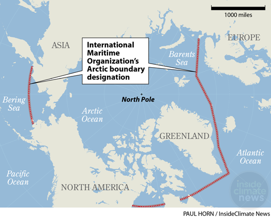 Map: Arctic region discussed by the International Maritime Organization