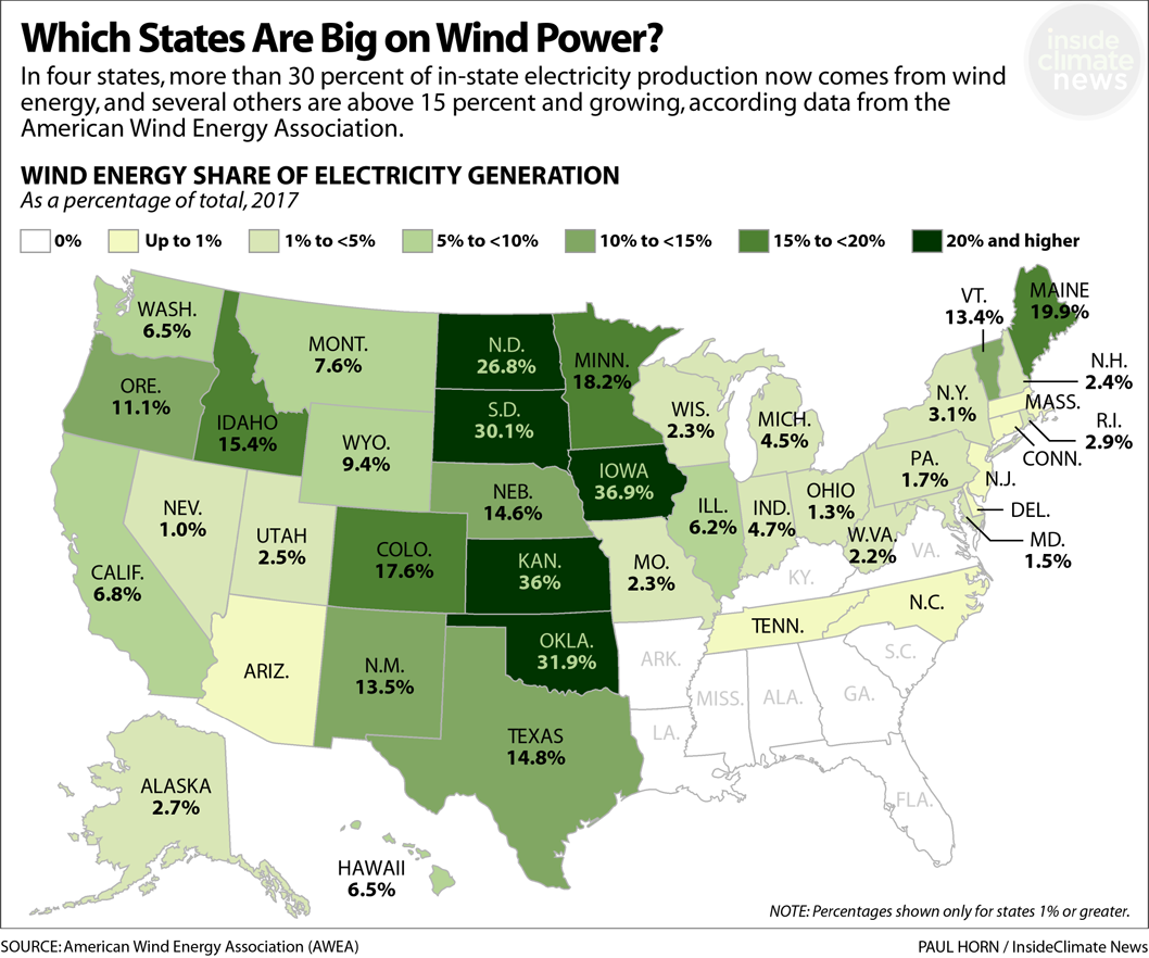 Map: States by the percentage of in-state electricity generated from wind energy.
