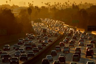 California, where car traffic is daily challenge, worked with the Obama administration to raise emissions standards. That agreement, and the state's waiver to set it own standards, are now in jeopardy. Credit: Mark Ralston/AFP/Getty Images