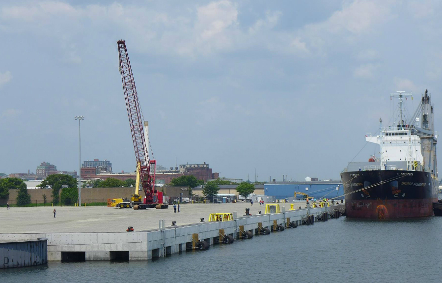 The New Bedford Marine Commerce Terminal serves a staging area for large offshore wind components. Credit: Massachusetts Clean Energy Center
