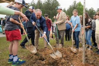 EPA Administrator Scott Pruitt flew to a Georgia school to announce that the EPA will now consider the burning of biomass, such as wood, to be carbon neutral. Credit: EPA
