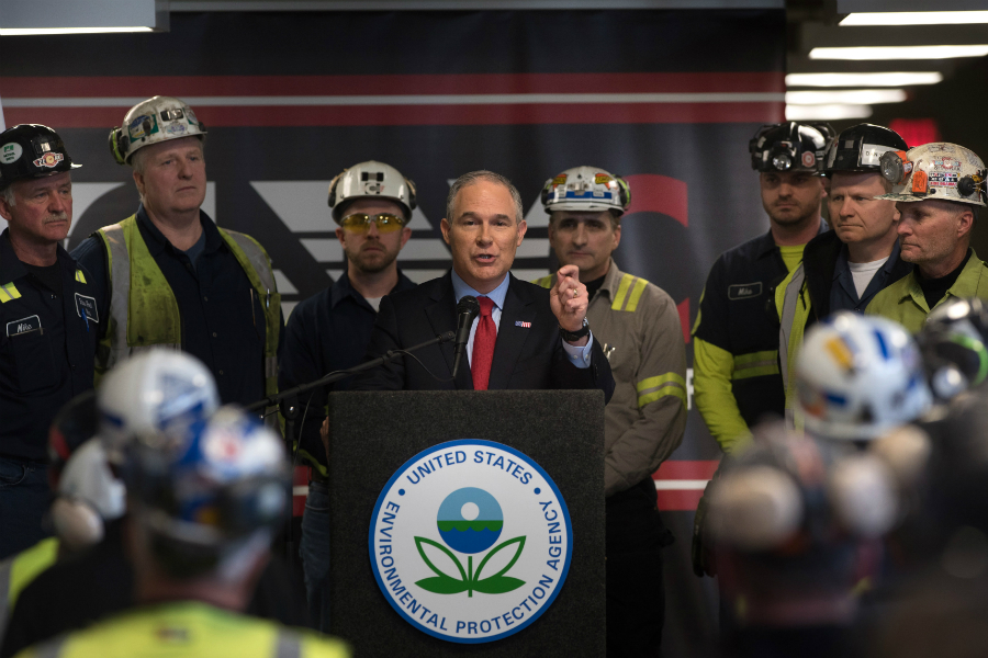Scott Pruitt, EPA administrator under President Trump, visits a coal mine. Credit: Justin Merriman/Getty Images
