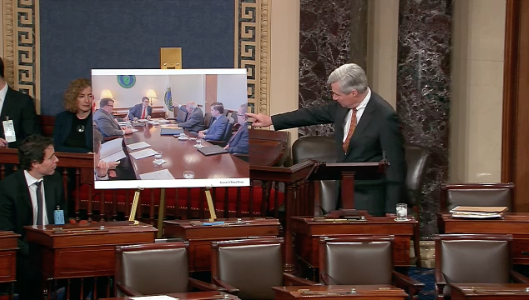 During the Senate floor debate on Andrew Wheeler's confirmation, Sen. Sheldon Whitehouse (D-R.I.), pointed out Wheeler (at right) in a photo taken of coal company owner Bob Murray (third from right) meeting with Energy Secretary Rick Perry (fourth from ri