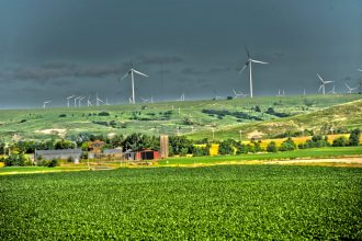 Kansas farms and wind farms. Credit: Kansas State University Research and Extension