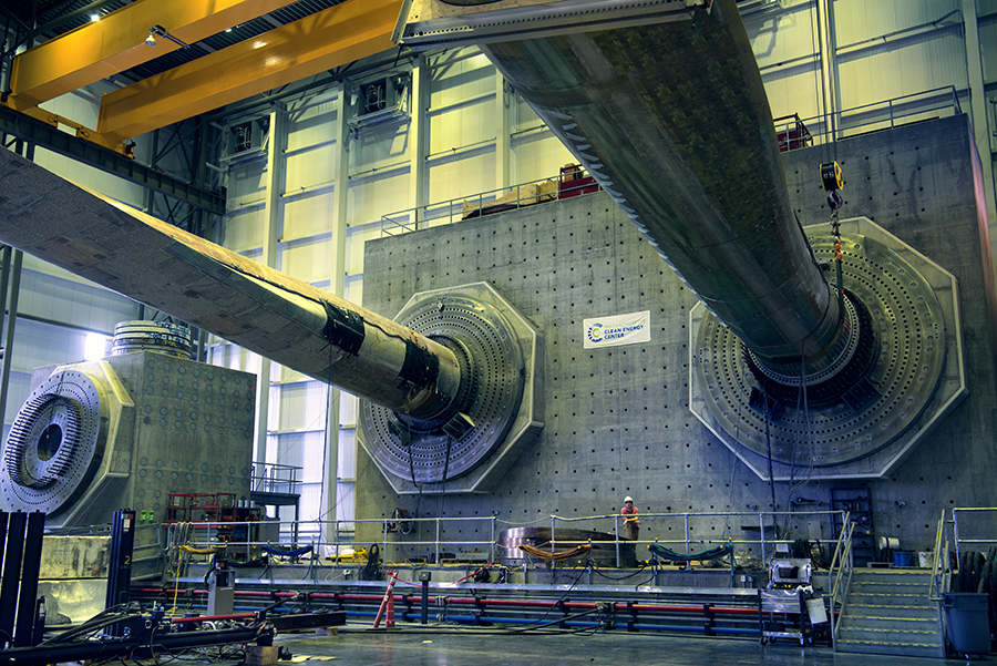 Wind turbine blades are tested at the Wind Technology Testing Center, in Boston's Charlestown neighborhood. Credit: Massachusetts Clean Energy Center