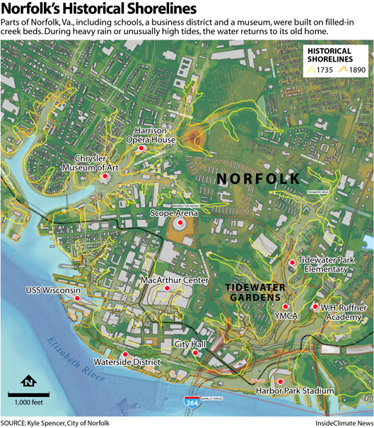 Map: Water Keeps Returning to Norfolk's Historic Shorelines