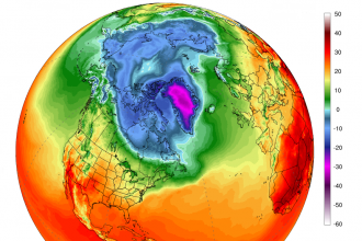 A map of average temperatures in degrees Celsius on May 8, 2018, show a warm spot near freezing over the Arctic. Credit: Climate Reanalyzer/University of Maine