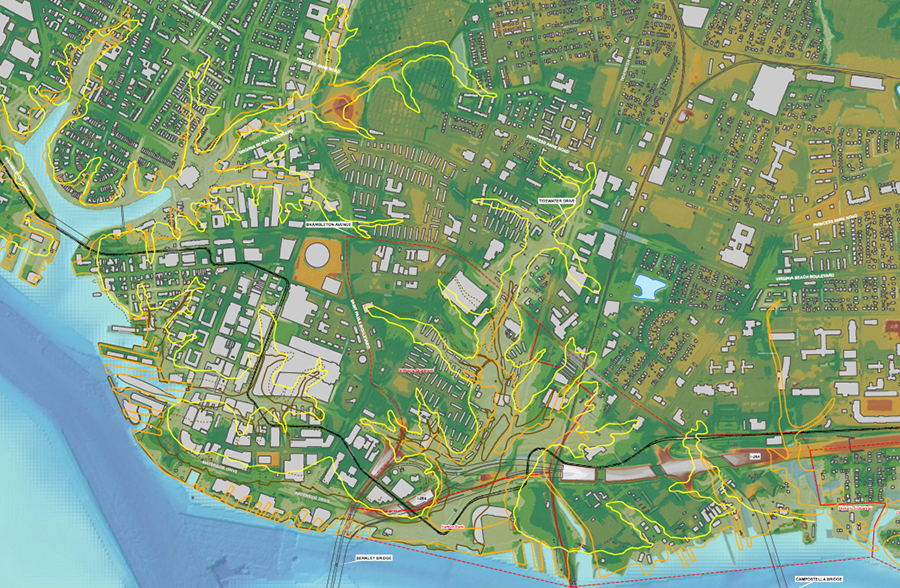 High tides have started to creep into the outlines of Norfolk's former shorelines, outlined in yellow and orange. These are areas that were filled in years ago and built up. Credit: Kyle Spencer/City of Norfolk