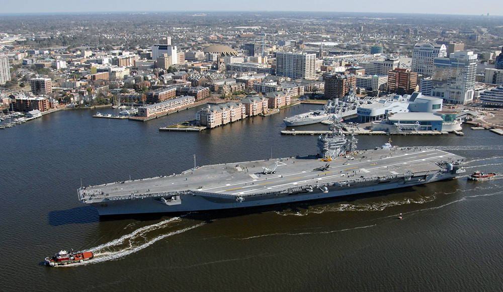 Most of Norfolk, home to the nation's largest naval base, is less than 15 feet above sea level. Credit: Tyler Folnsbee/U.S. Navy