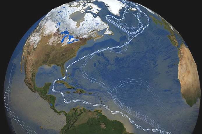 Key currents of the Atlantic ocean's overturning circulation. Credit: NASA
