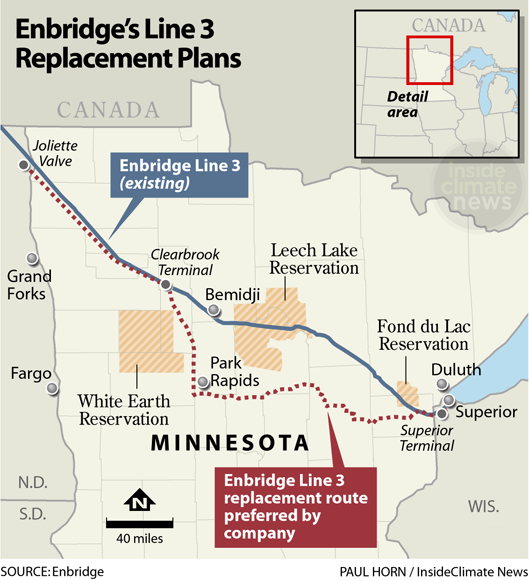 Map: Enbridge Line 3 proposed routes