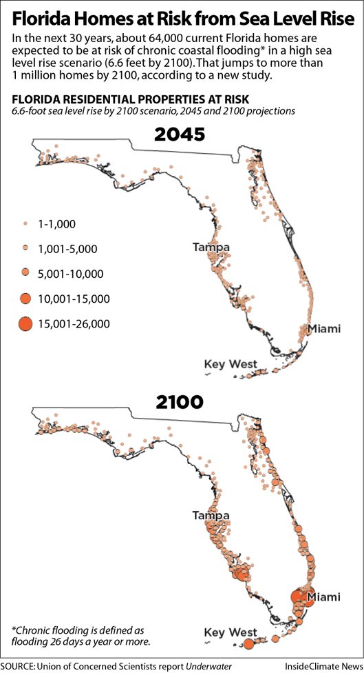 Map: Which Florida Communities Have the Most Homes at Risk of High-Tide Flooding?