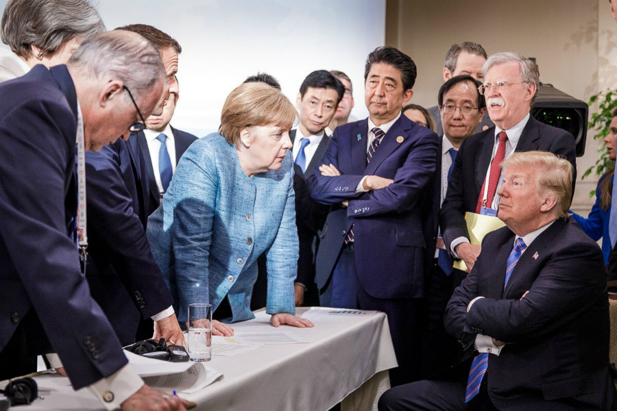 German Chancellor Angela Merkel, French President Emmanuel Macron and other leaders agreed to several climate commitments at the G7 summit in Canada. Credit: Steffen Seibert/Government of Germany
