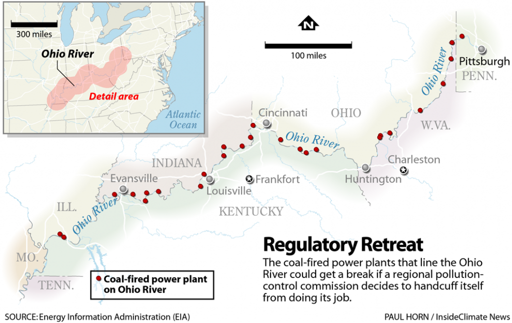 Map: Coal-Fired Power Plants on the Ohio River