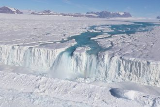 Meltwater on Antarctica. Credit: Won Sang Lee/Korea Polar Research Institute