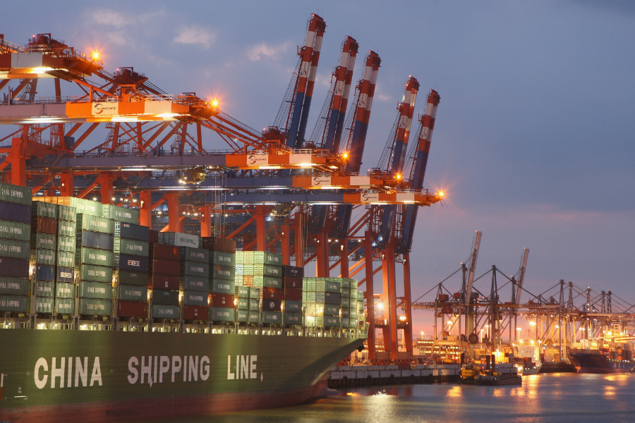 Ocean shipping accounts for about 3 percent of global CO2 emissions. Nations and the industry have started discussing how to reduce these emissions, but the steps they've identified so far are modest. Credit: Sean Gallup/Getty Images