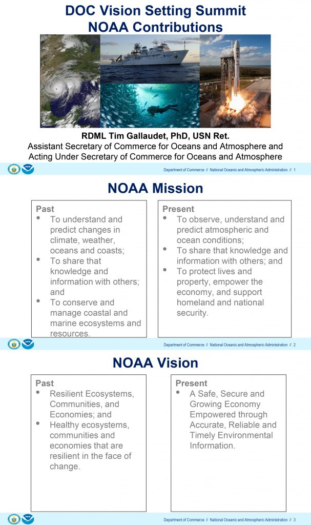 The first three slides of the presentation by Acting Under Secretary of Commerce for Oceans and Atmosphere Timothy Gallaudet. The presentation was shared with ICN by the Union of Concerned Scientists.