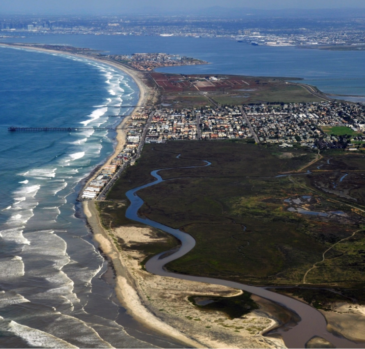 Imperial Beach is bordered on three sides by water: the Pacific Ocean, San Diego Bay, and the Tijuana River Estuary. Credit: Photo courtesy of the City of Imperial Beach