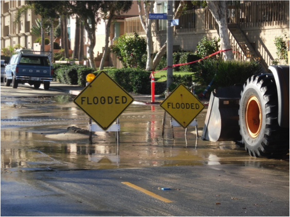 At high tide when the ocean is rolling, Descanso Street can funnel saltwater into the city. Credit: Courtesy of City of Imperial Beach