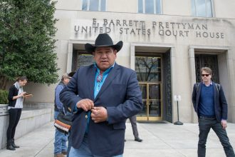 Harold Frazier, chairman of the Cheyenne River Sioux Tribe, supported the Standing Rock Sioux Tribe's challenge to the Dakota Access pipeline. He is now pushing back on plans for Keystone XL to cross near tribal land. Credit: Tasos Katopodis/Getty Images