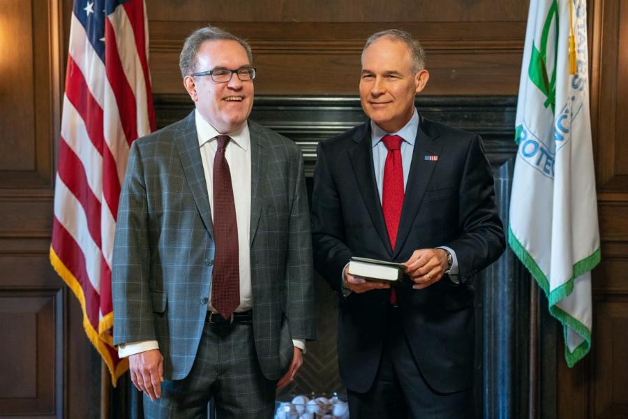 Andrew Wheeler with then-EPA Administrator Scott Pruitt, whose duties Wheeler is taking over. Credit: EPA