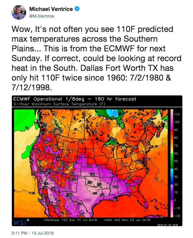 Michael Ventrice tweet on heat wave forecast