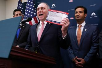 Republican Reps. Steve Scalise of Louisiana (center), and Carlos Curbelo of Florida (right) have different views on a carbon tax. Credit: Chip Somodevilla/Getty Images