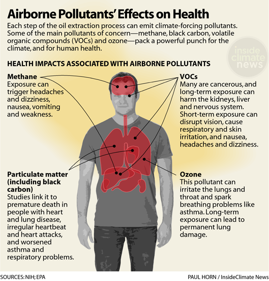 Airborne pollutants effects on health, illustrated