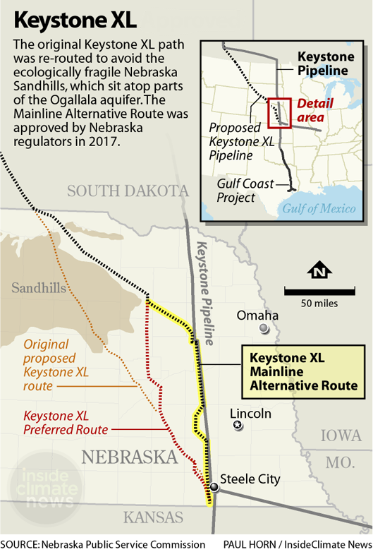 Map of the Keystone XL pipeline route