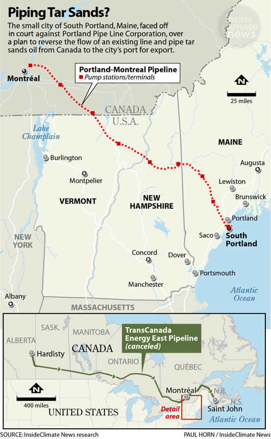 Map: South Portland's tar sands pipeline fight
