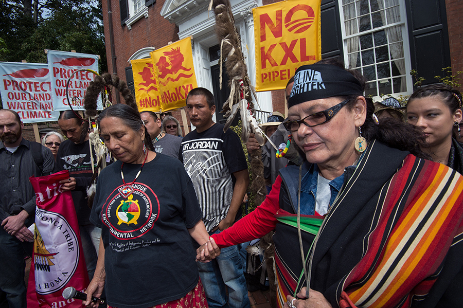 Protesters, including Native American tribes, began opposing the Keystone XL pipeline during the Obama administration. This Washington protest was outside then-Secretary of State John Kerry's home. Credit: Paul J. Richards/AFP/Getty Images