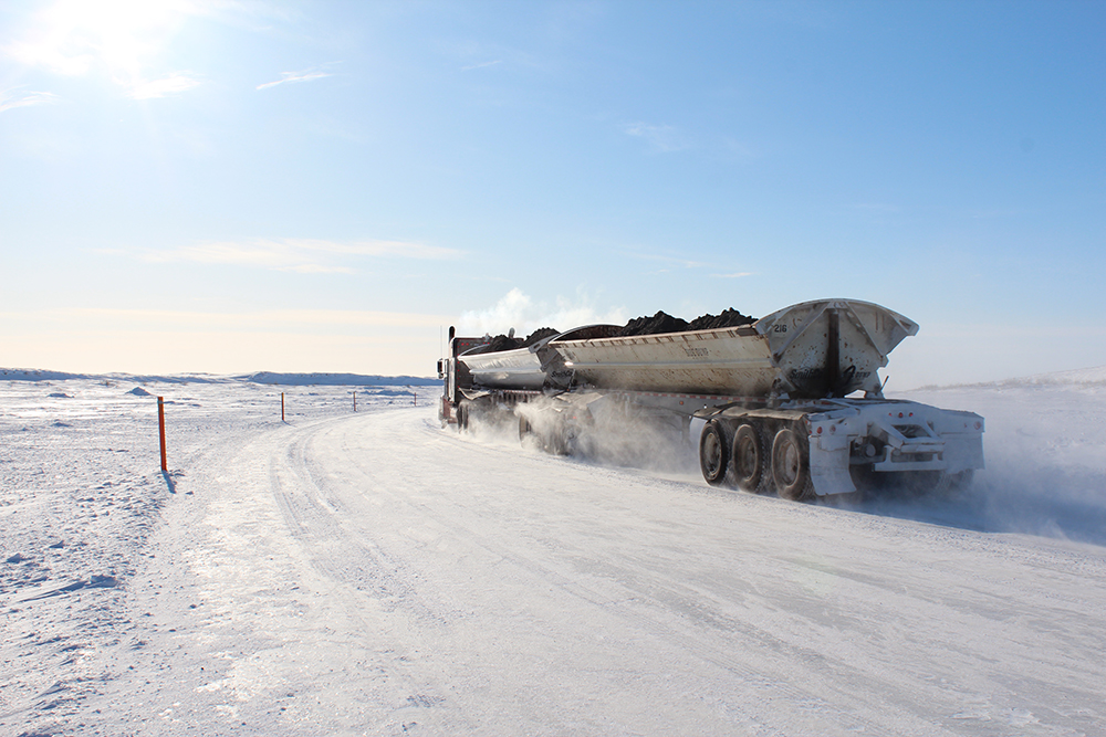 Ice road truckers  run in and out of the oil facilities along the North Slope. Credit: Sabrina Shankman/InsideClimate News