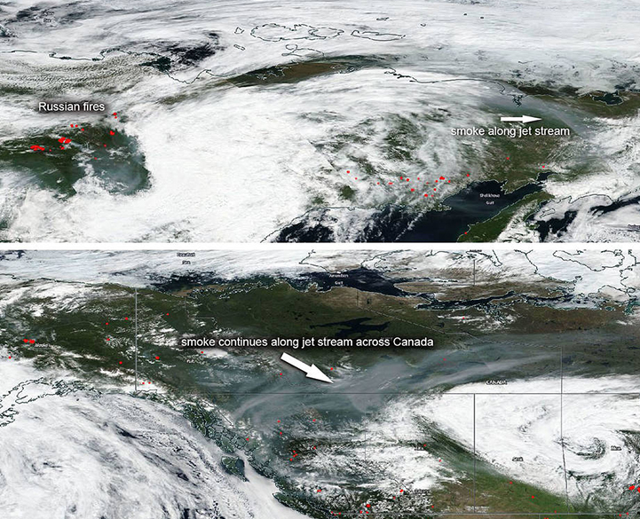 Satellite images from July 23, 2018, shows how the jet stream spreads wildfire smoke across Russia (top) and Canada (bottom). Credit: NAS