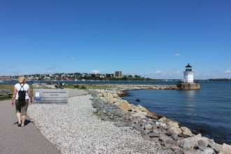 A pipeline company's plan to bring Canadian tar sands to the port at South Portland, Maine, included building a pair of 70-foot-high smokestacks next to the city's beloved Bug Light Park. Credit: PT Washburn/CC-BY-2.0
