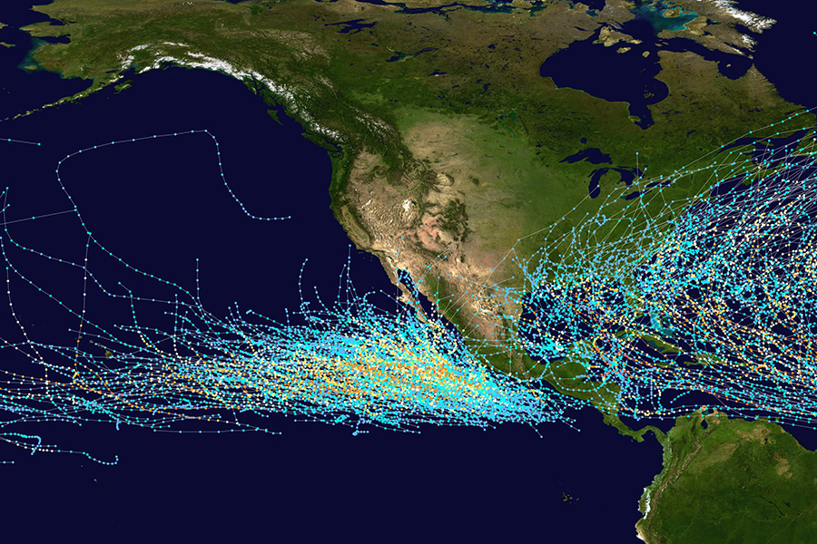 Tropical storm tracks in the eastern and central Pacific, 1985-2005. Credit: NASA
