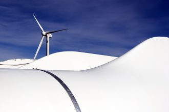 Wind turbine blades at the National Renewable Energy Lab's National Wind Technology Center. Credit: Scott Bryant Photography/NREL
