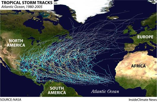 Map: 25 Years of Atlantic Tropical Storm Tracks