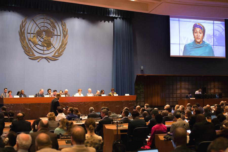 UN Deputy Secretary General Amina J. Mohammed addresses negotiators during the latest climate talks in Bangkok. Credit: UNFCCC