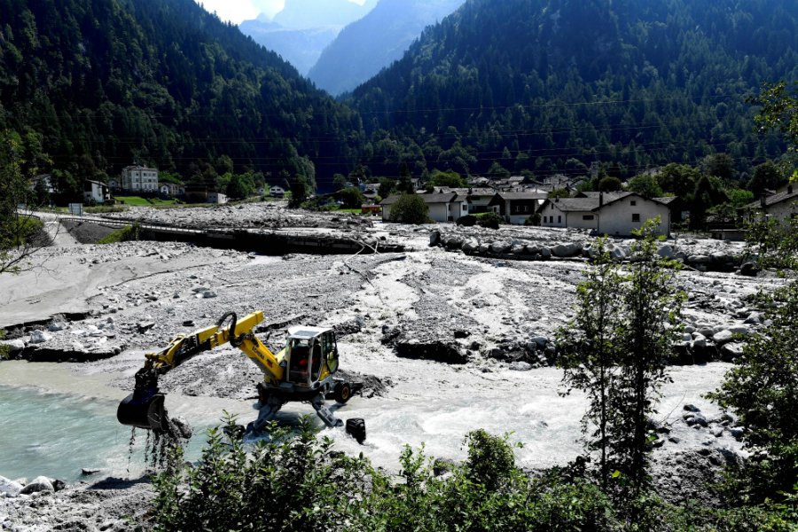 Storms have triggered landslides in the Alps that have sent mud and debris pouring into villages. Bondo, in the Swiss Alps, has been hit more than once in recent years. Credit: Miguel Medina/AFP/Getty Images