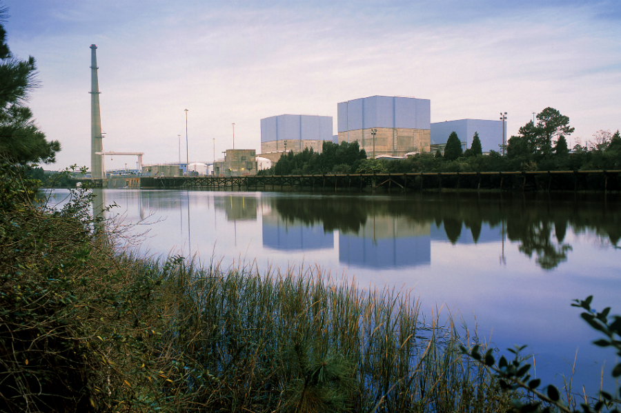 Brunswick nuclear plant uses water from the Cape Fear River in its cooling systems. Credit: Duke Energy