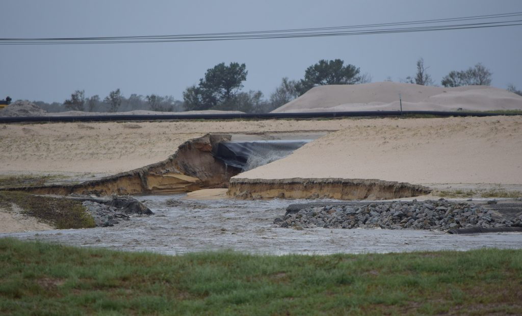 A photo taken Sept. 16 shows one of two collapses at a coal ash landfill near Wilmington, North Carolina. Credit: Rick Dove/Waterkeeper Alliance